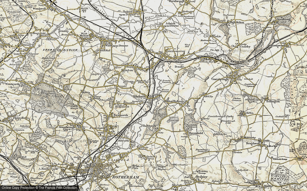 Old Map of Historic Map covering Thybergh Country Park in 1903
