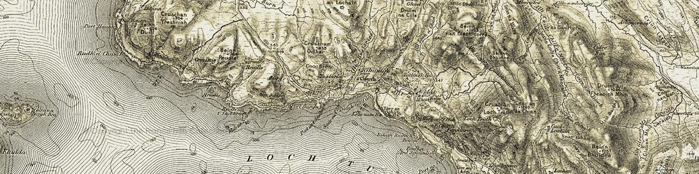 Old map of Allt Hostarie in 1906-1908