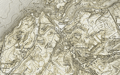 Old map of Allt Eaglaiche in 1906-1907
