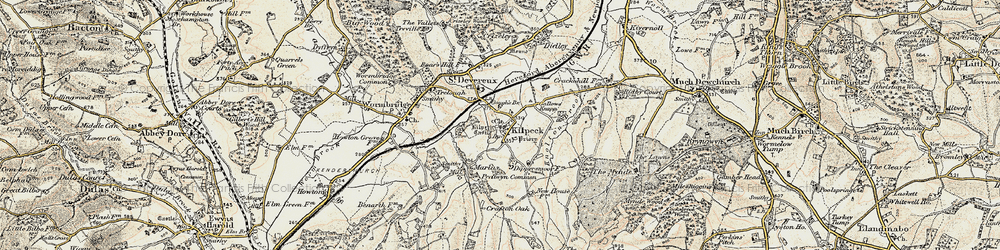 Old map of Kilpeck in 1900
