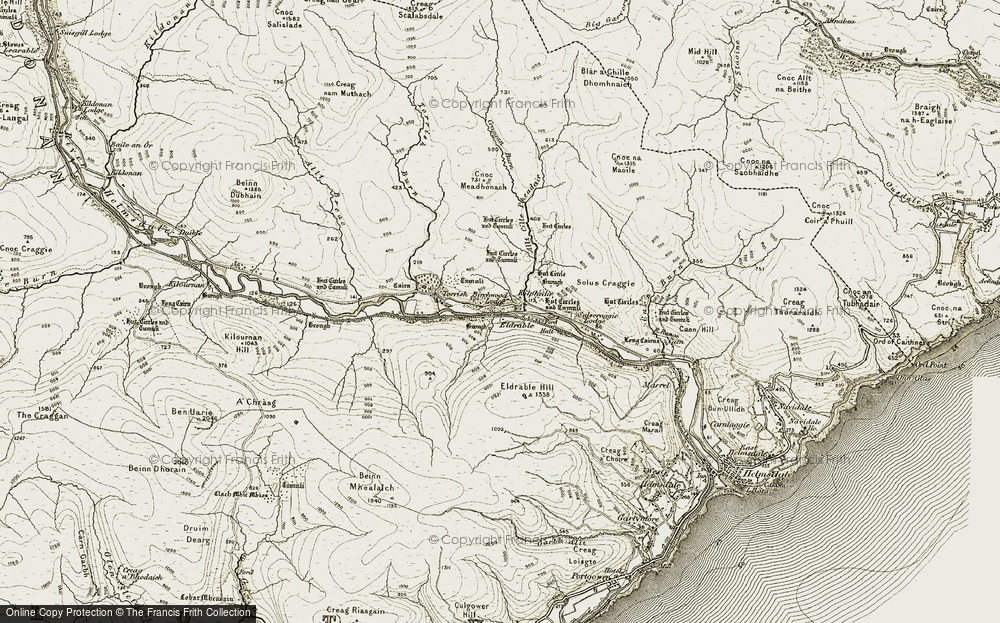 Old Map of Historic Map covering Allt Cille Pheadair in 1911-1912