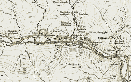 Old map of Allt Cille Pheadair in 1911-1912