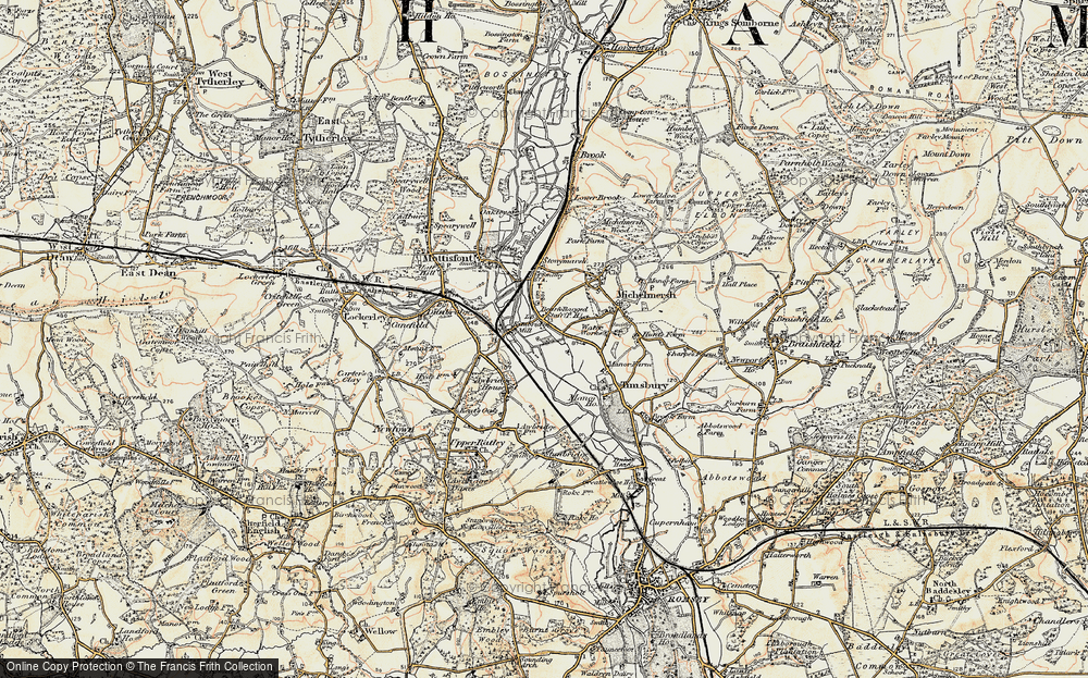 Old Map of Historic Map covering Linhay Meads in 1897-1909
