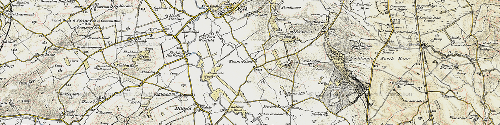 Old map of White Hill in 1901-1903
