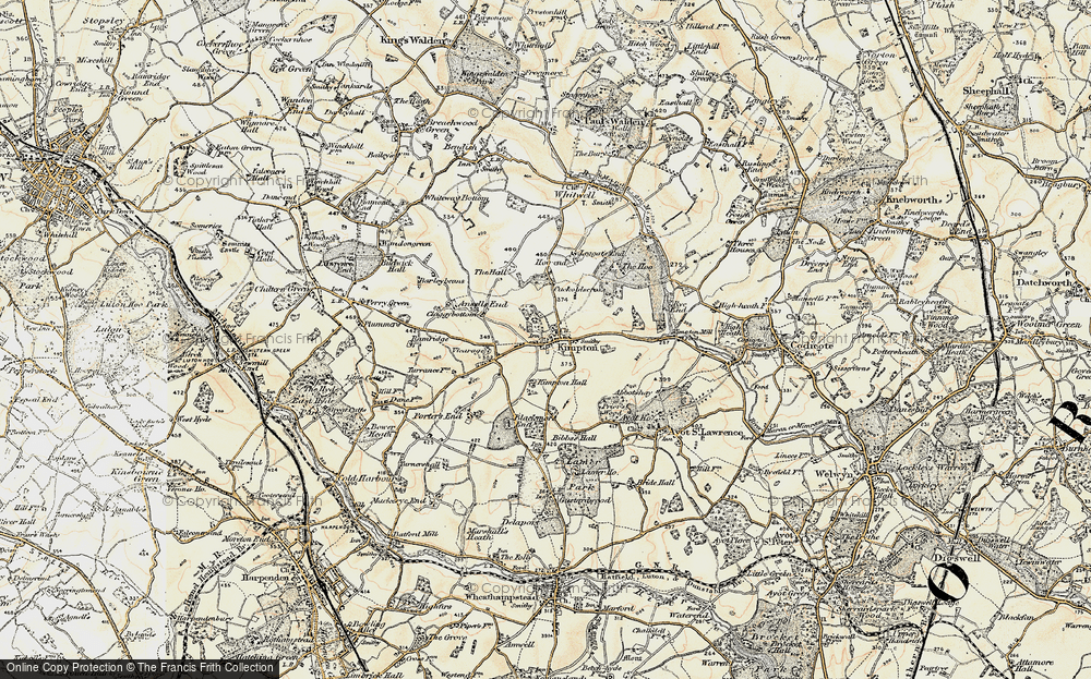 Old Map of Kimpton, 1898-1899 in 1898-1899