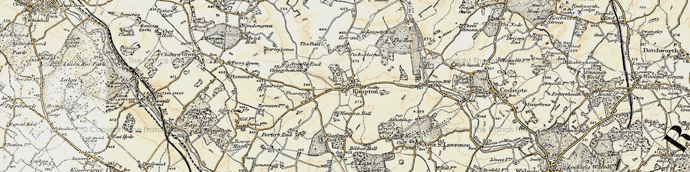 Old map of Kimpton in 1898-1899