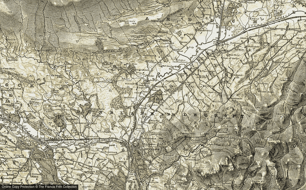 Old Map of Historic Map covering Balhaldie in 1904-1907