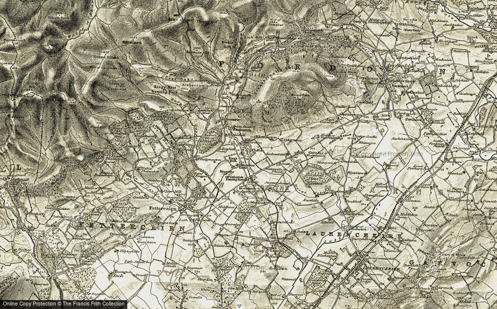 Old Map of Historic Map covering Auchcairnie in 1908-1909