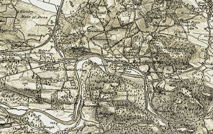 Old map of Tillydrine in 1908-1909