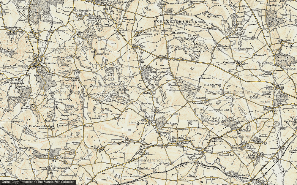 Old Map of Historic Map covering Leigh Wood in 1899