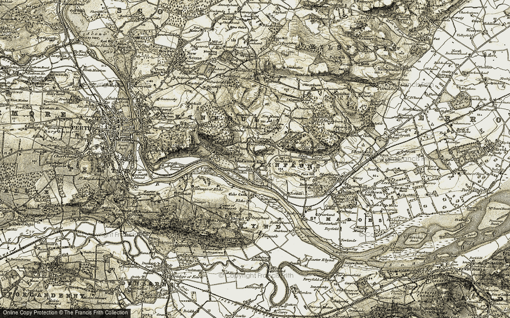 Old Map of Historic Map covering Balthayock Ho in 1906-1908