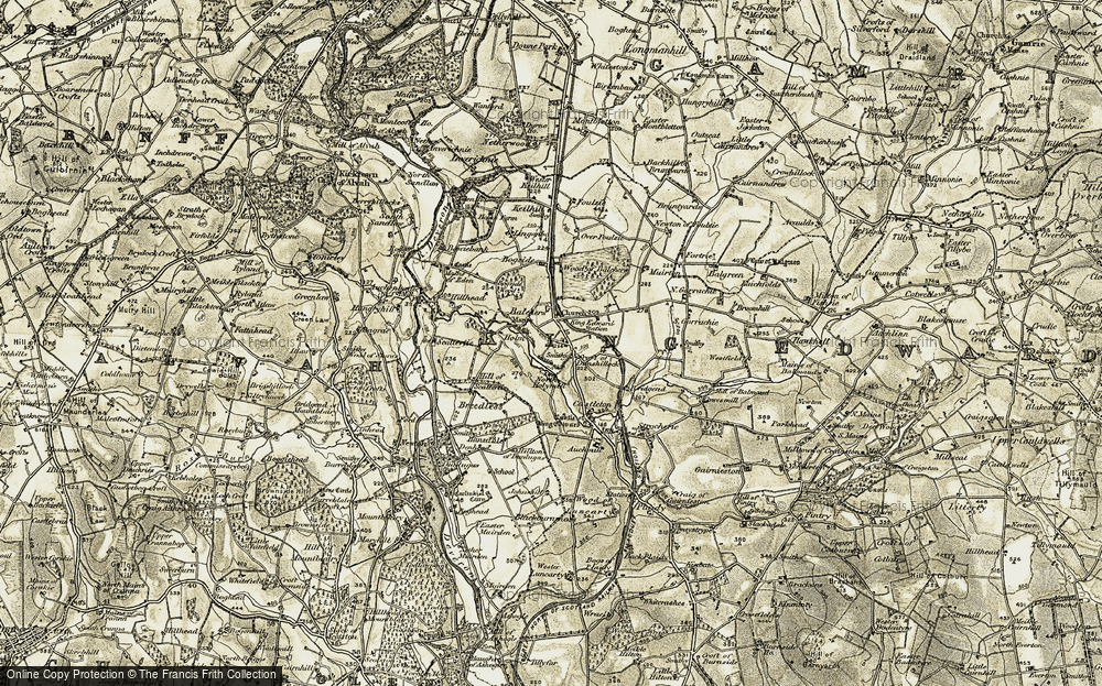 Old Map of Historic Map covering Balchers in 1909-1910