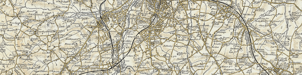 Old map of King's Heath in 1901-1902