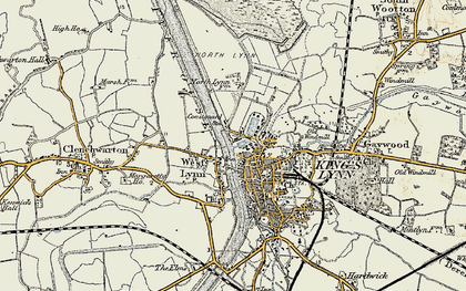 Old map of King's Lynn in 1901-1902