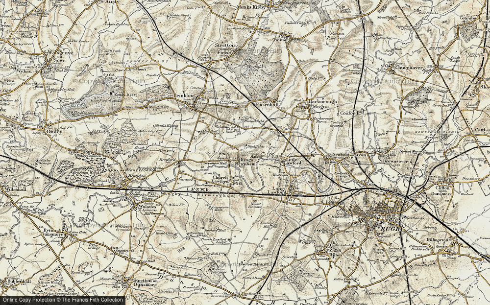 Old Map of Historic Map covering All Oaks Wood in 1901-1902