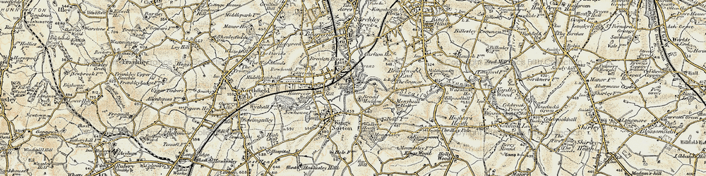 Old map of King's Norton in 1901-1902