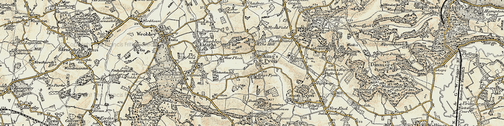 Old map of Wistaston in 1900-1901