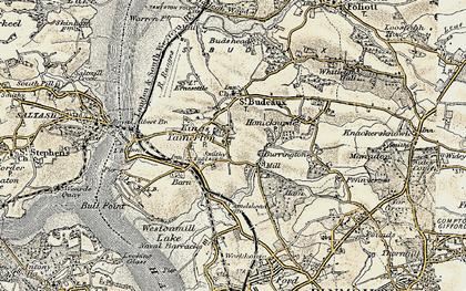 Old map of King's Tamerton in 1899-1900