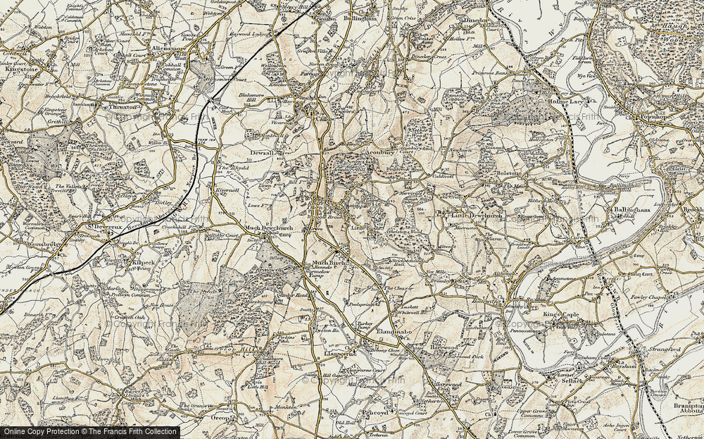 Old Map of Historic Map covering Aconbury Hill in 1900