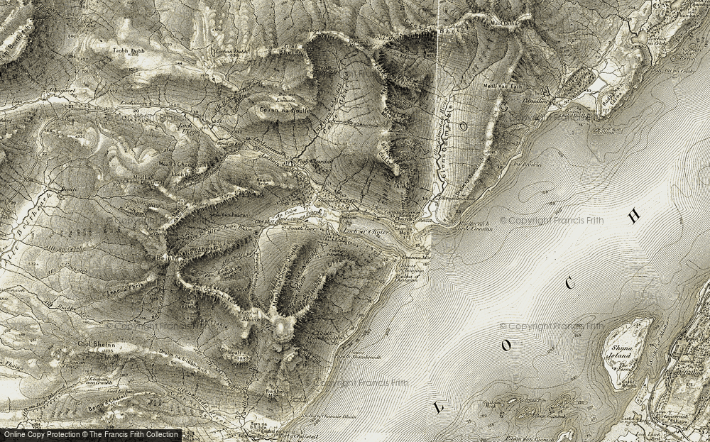 Old Map of Historic Map covering Allt Choire nan Each in 1906-1908