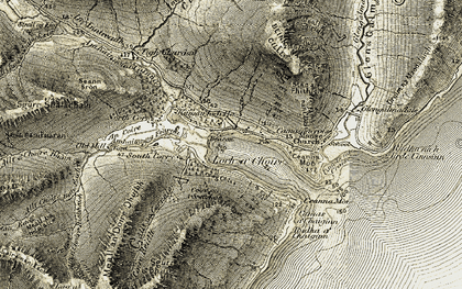 Old map of Allt Choire nan Each in 1906-1908