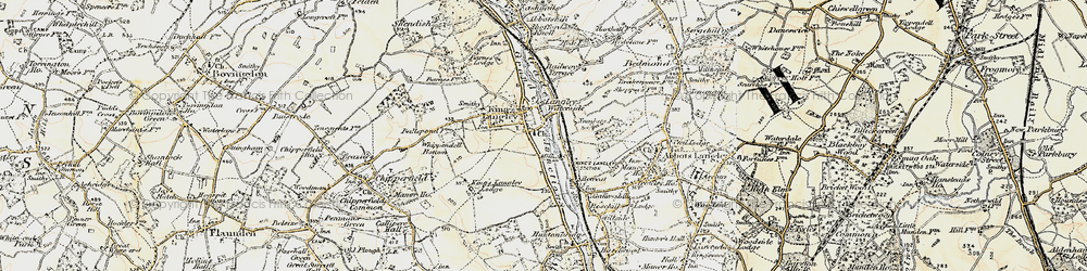 Old map of Kings Langley in 1897-1898