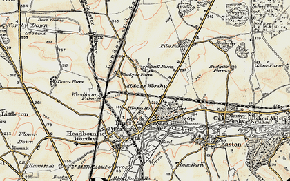 Old map of Kings Worthy in 1897-1900