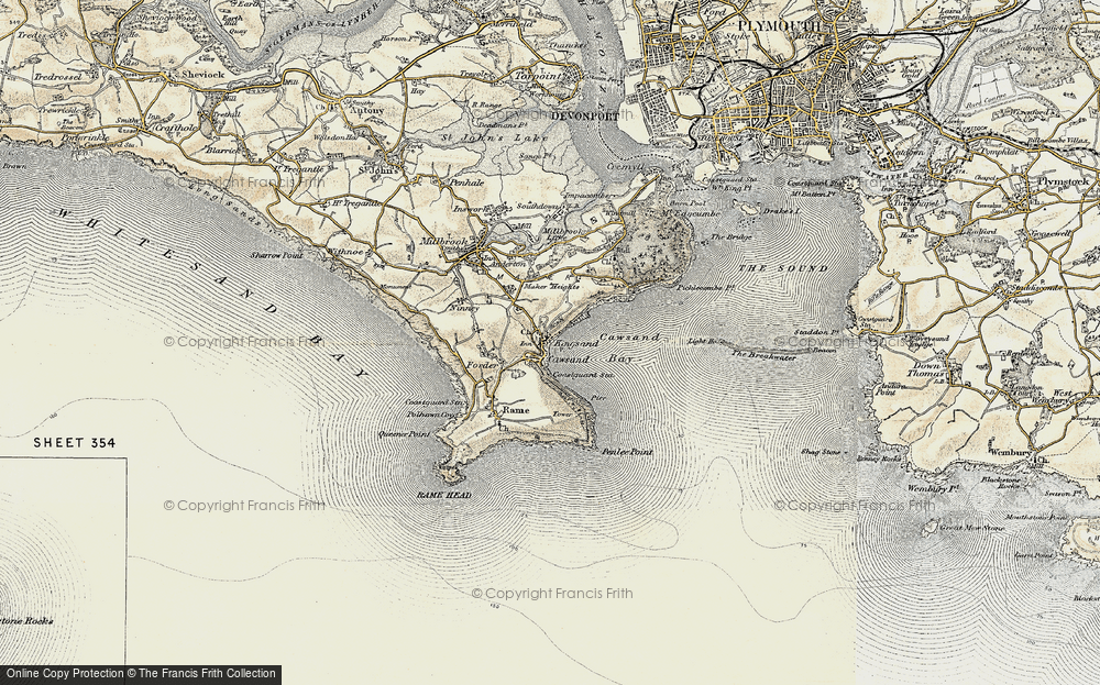 Old Map of Kingsand, 1899-1900 in 1899-1900