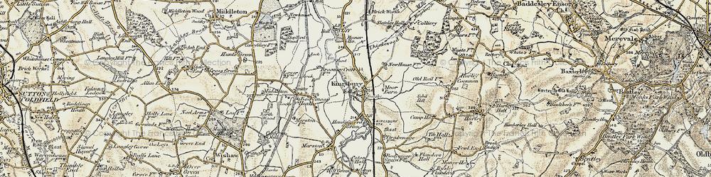 Old map of Kingsbury in 1901-1902