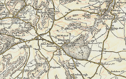 Old map of Ashel Barn in 1898-1900