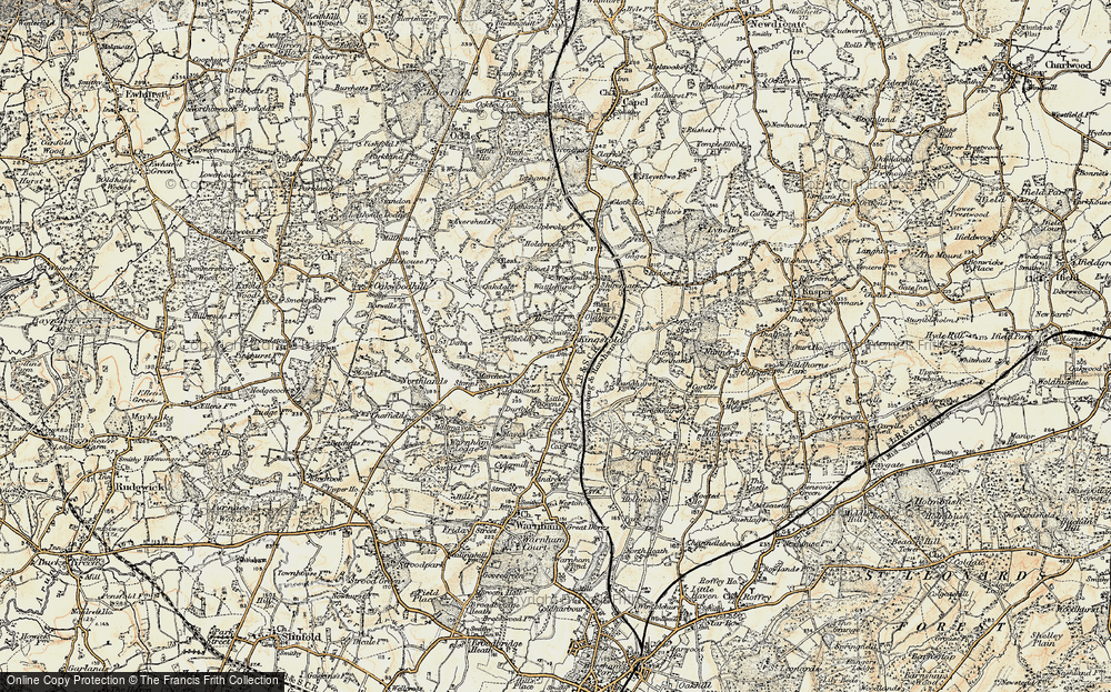 Old Map of Historic Map covering Langhurst in 1898-1909