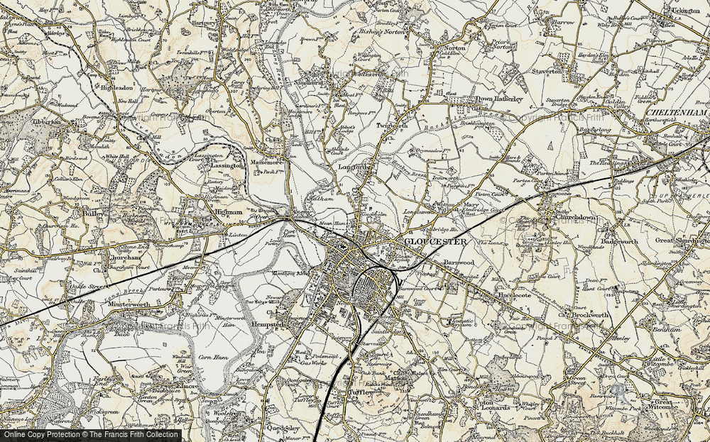 Old Map of Historic Map covering Alney Island in 1898-1900