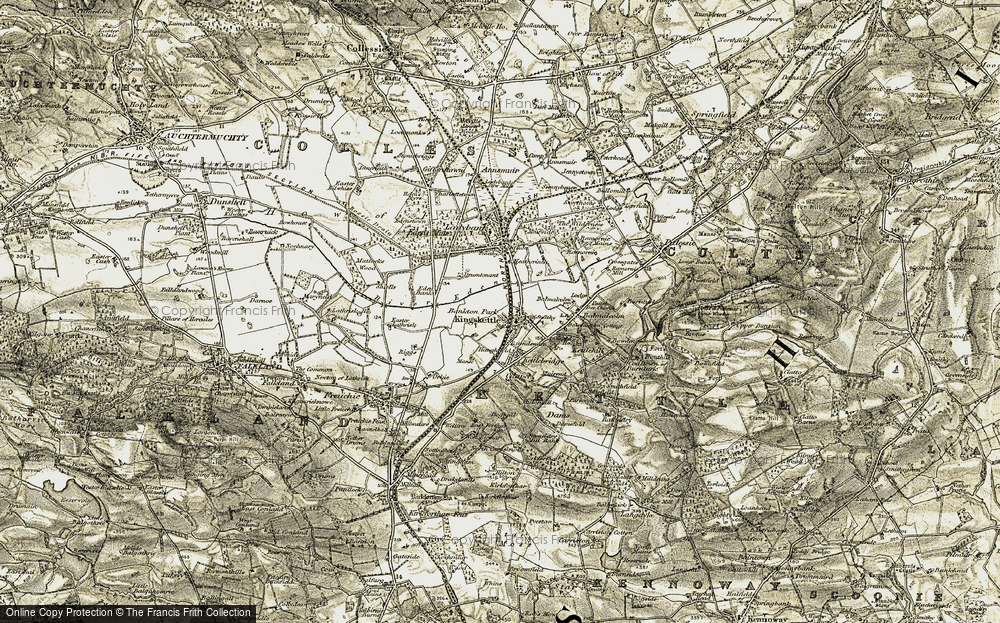 Old Map of Historic Map covering Bankton Park in 1906-1908