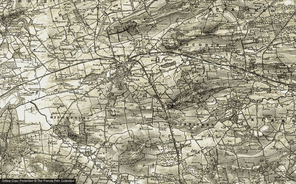 Old Map of Historic Map covering Auchterforfar in 1907-1908