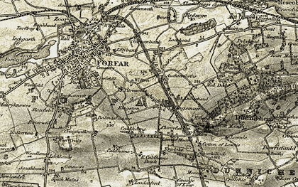 Old map of Auchterforfar in 1907-1908
