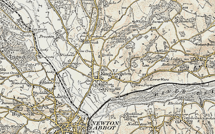 Old map of Kingsteignton in 1899