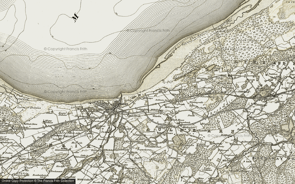 Old Map of Historic Map covering Auchnacloich in 1911