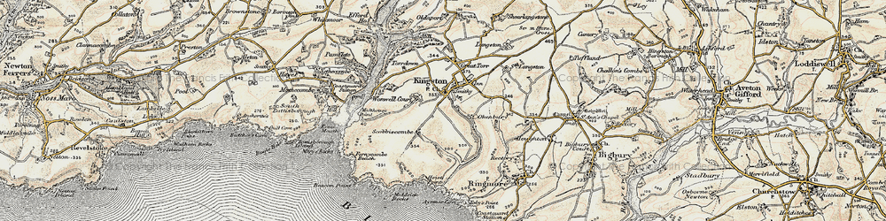 Old map of Westcombe Beach in 1899-1900