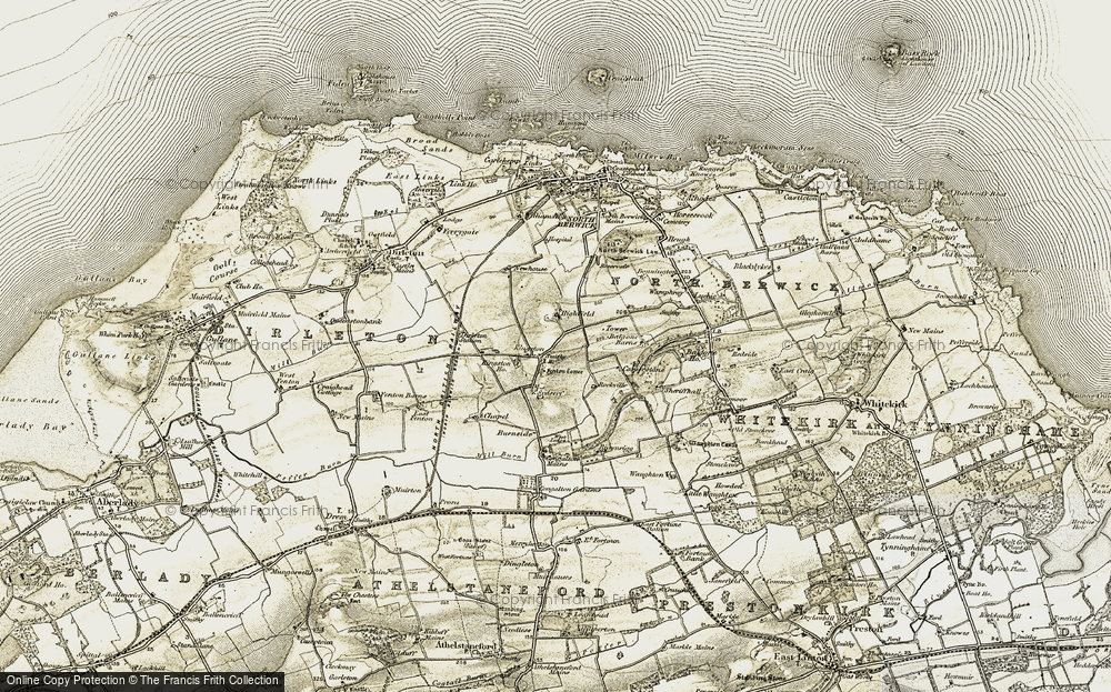 Old Map of Historic Map covering Balgone Barns in 1901-1906