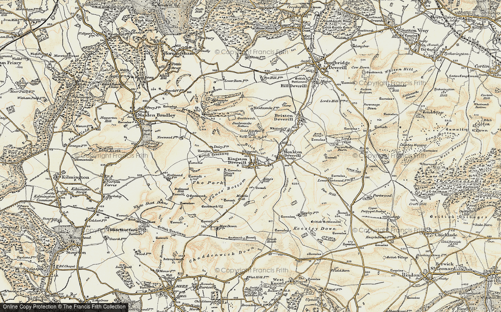 Old Map of Historic Map covering Woodcombe Bottom in 1897-1899