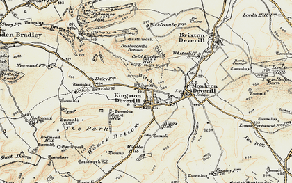 Old map of Whitecliff Down in 1897-1899