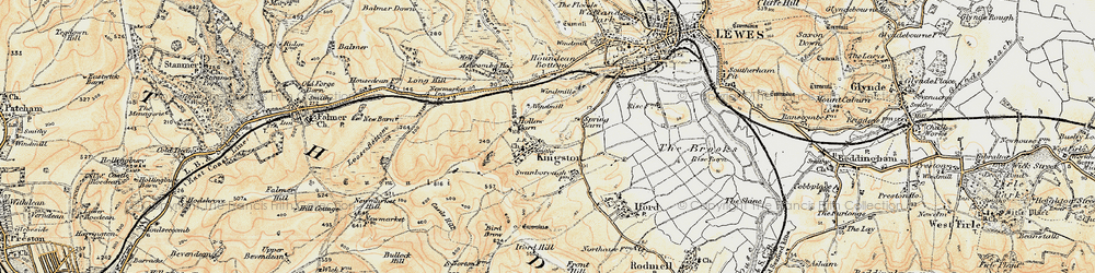 Old map of Kingston near Lewes in 1898