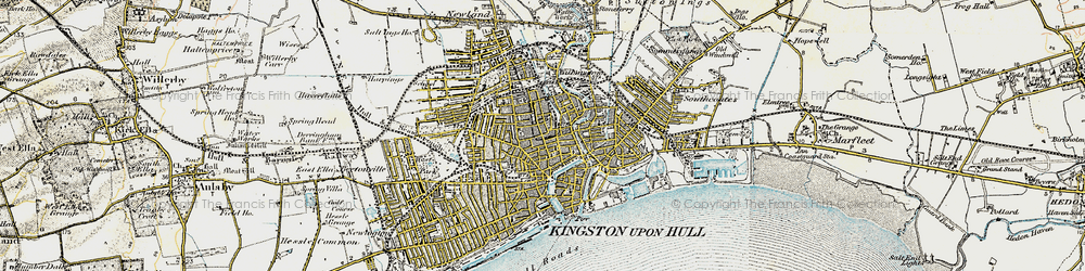 Old map of Kingston upon Hull in 1903-1908