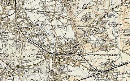 Old map of Kingston Upon Thames in 1897-1909