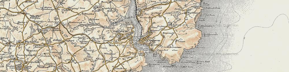 Old map of Kingswear in 1899