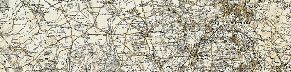Old map of Kingswinford in 1902
