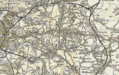 Old map of Kingswood in 1899