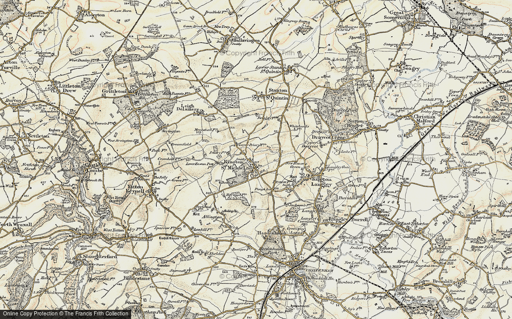 Old Map of Kington St Michael, 1898-1899 in 1898-1899