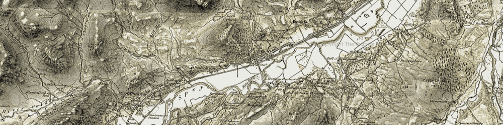 Old map of Tom Baraidh in 1908