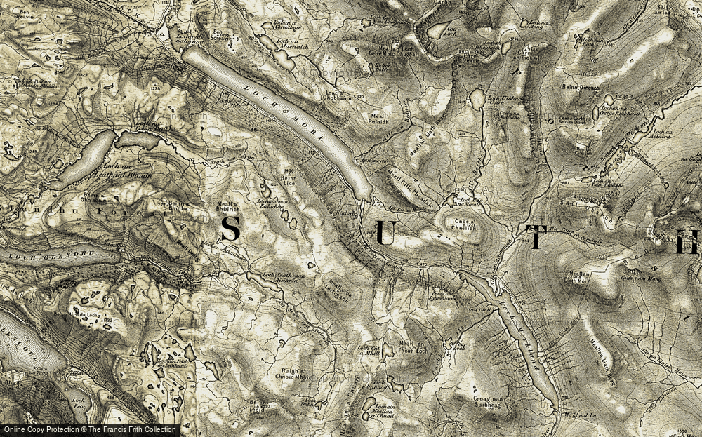 Old Map of Historic Map covering Allt Beithe in 1910